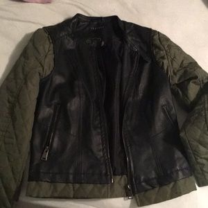 "Green and black ""leather"" jacket"
